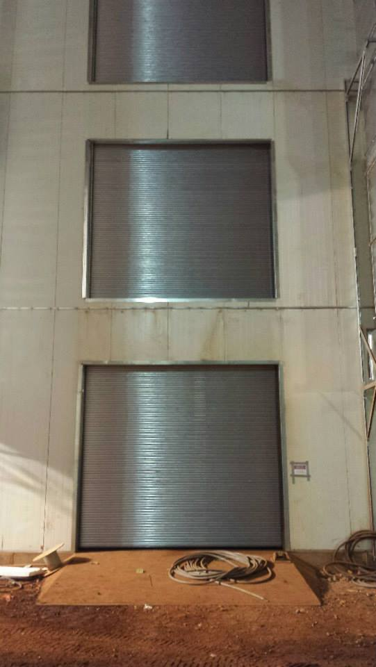 New installation of rolling steel fire doors on 3 levels.