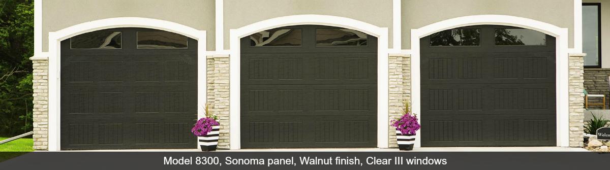 8300-8500-Steel-Garage-Door-Sonoma-Walnut-Clear-III