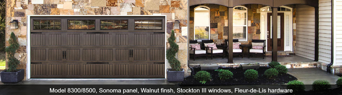 Steel Garage Door Sonoma Walnut with Stockton III Windows